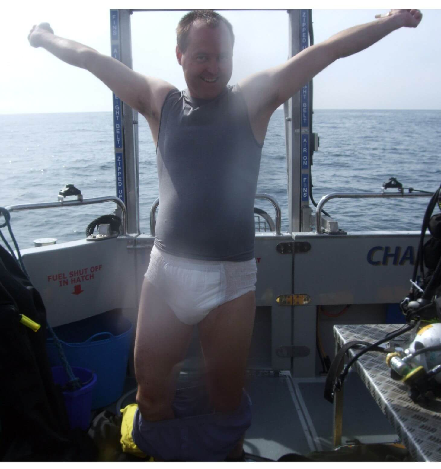 A grown man in a nappy....not a good look Neil.