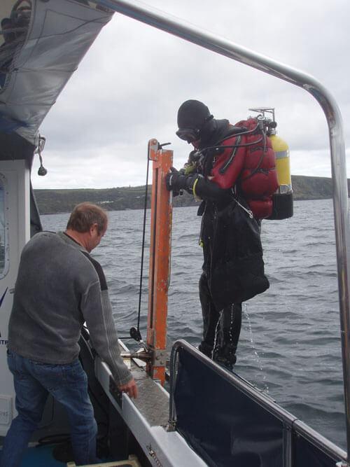 Scott brings back a lobster for the skipper.